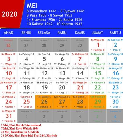 kalender indonesia mei 2020