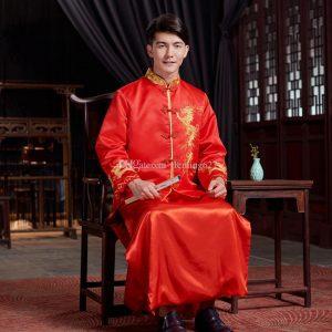 Baju imlek 2020 pria dewasa warna merah model cheongsam