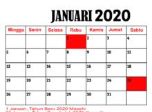 kalender bulan januari tahun 2020