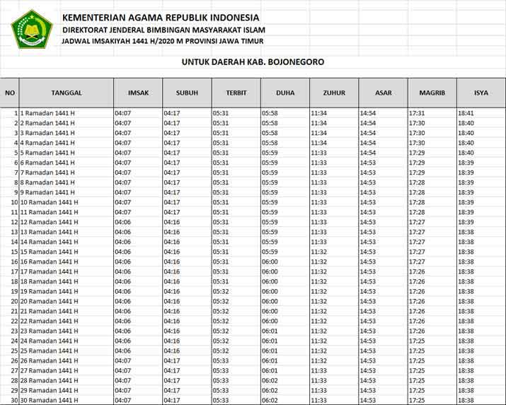 jadwal puasa imsakiyah dan shalat kabupaten bojonegoro