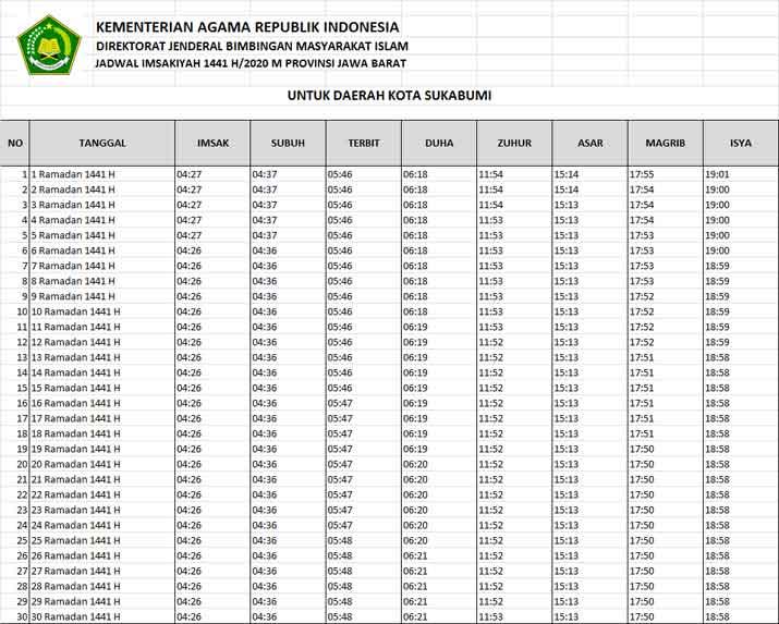 jadwal puasa imsakiyah ramadhan 2020 dan sholat wilayah ...