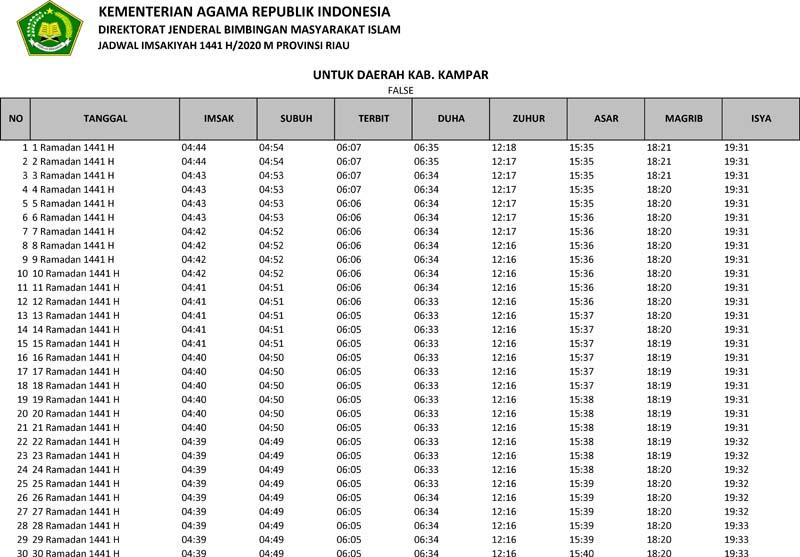 jadwal imsakiyah 2020 kabupaten kampar provinsi riau