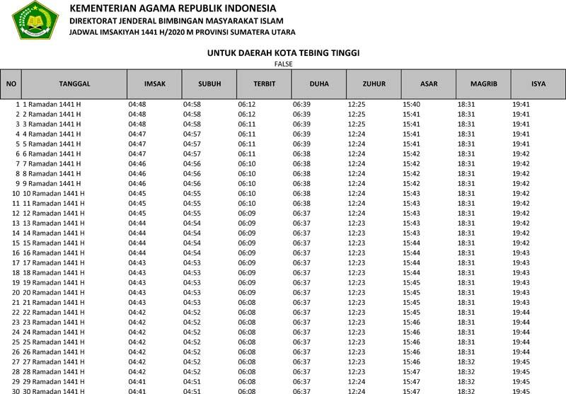 jadwal imsakiyah 2020 kota tebing tinggi provinsi sumatera utara