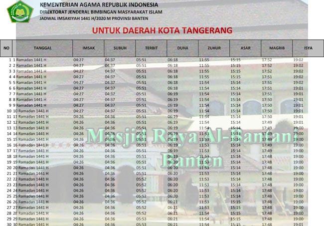 Jadwal Imsakiyah dan Sholat Kota Tangerang Ramadhan 2020/1441h