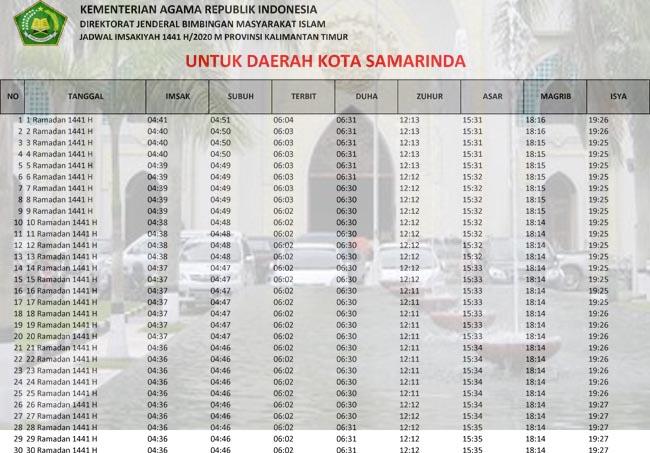 jadwal imsakiyah kalimantan timur-kota samarinda 2020 1441h