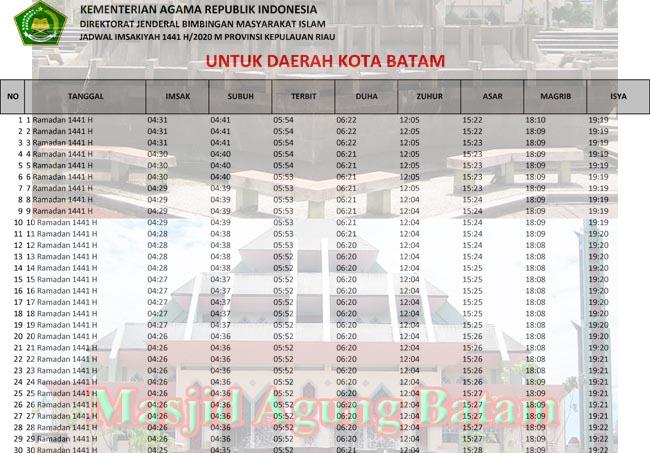 Jadwal Imsakiyah dan Sholat Kota Batam Ramadhan 2020/1441h