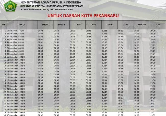 Jadwal Imsakiyah dan Sholat Kota Pekanbaru Ramadhan 2020/1441h