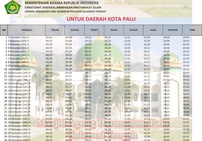 jadwal imsakiyah sulawesi tengah-kota palu 2020 1441h