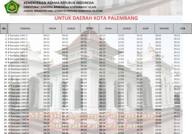 Jadwal Imsakiyah dan Sholat Kota Palembang Ramadhan 2020/1441h