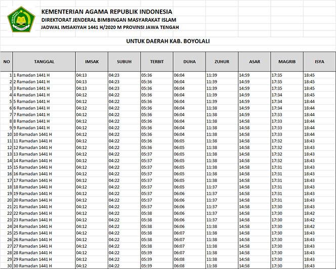jadwal puasa imsakiyah dan shalat kabupaten boyolali 2020