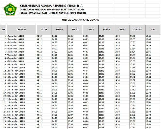 jadwal puasa imsakiyah dan shalat kabupaten demak 2020
