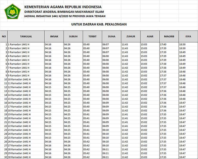 jadwal puasa imsakiyah dan shalat kabupaten pekalongan 2020