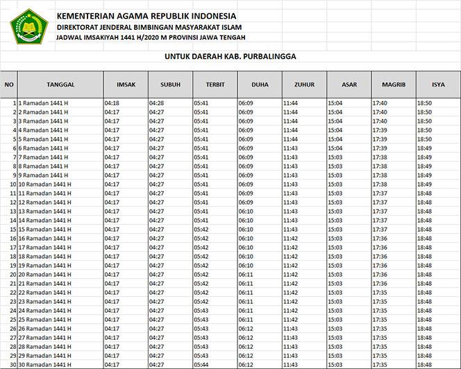 jadwal puasa imsakiyah dan shalat kabupaten purbalingga 2020