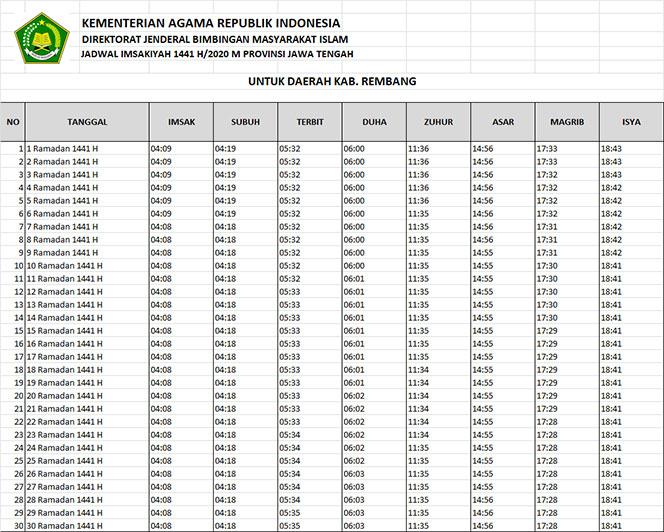 jadwal puasa imsakiyah dan shalat kabupaten rembang 2020