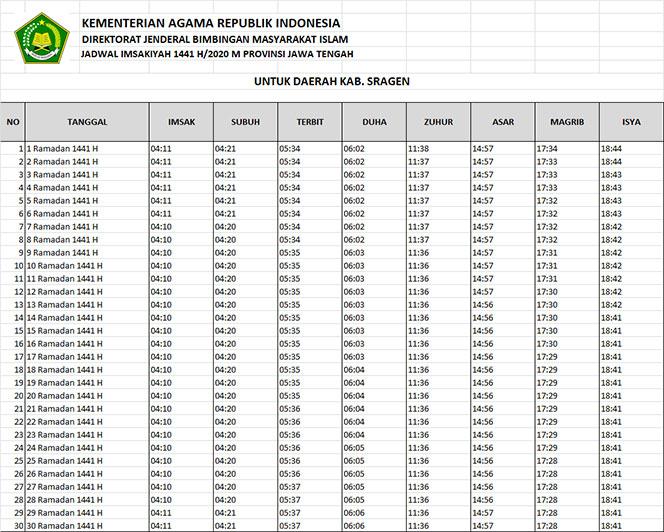 jadwal puasa imsakiyah dan shalat kabupaten sragen 2020