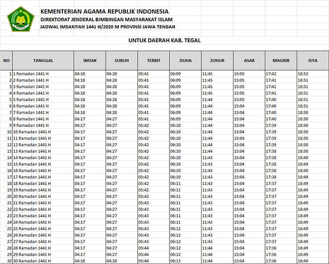 jadwal puasa imsakiyah dan shalat kabupaten tegal 2020