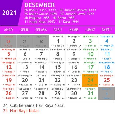kalender bulan desember tahun 2021