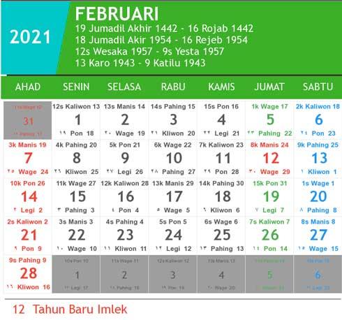 kalender bulan februari tahun 2021