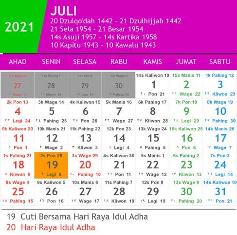 kalender bulan juli tahun 2021