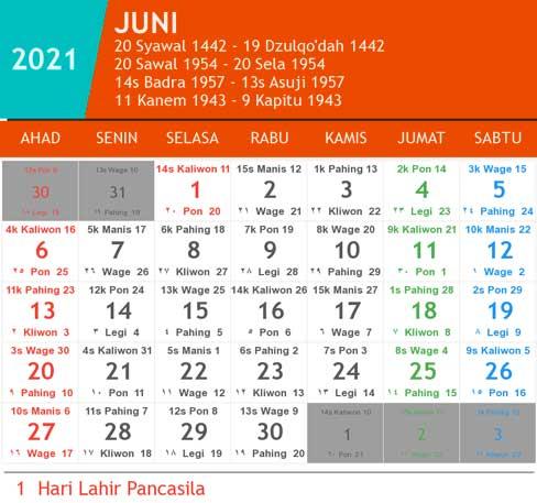 kalender bulan juni tahun 2021