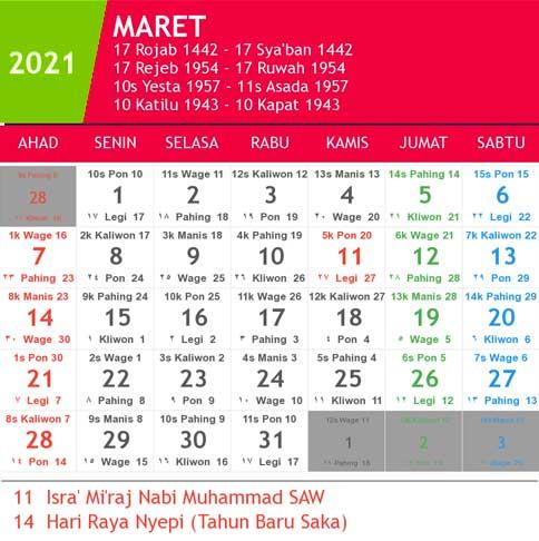 kalender bulan maret tahun 2021