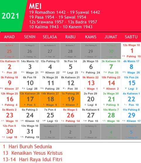 kalender bulan mei tahun 2021