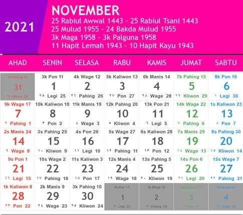 kalender bulan november tahun 2021