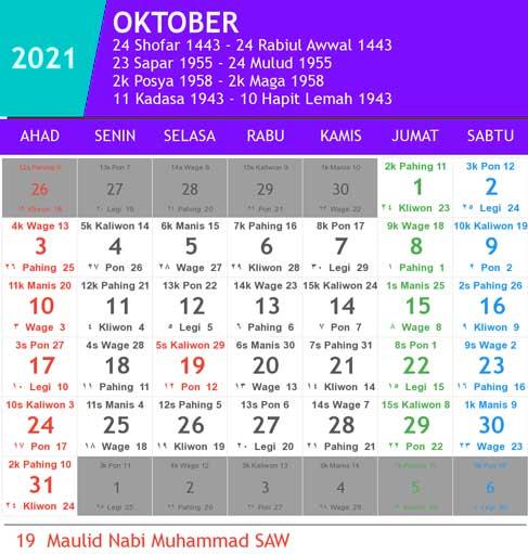 kalender bulan oktober tahun 2021