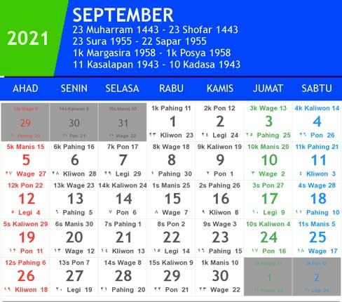 kalender bulan september tahun 2021