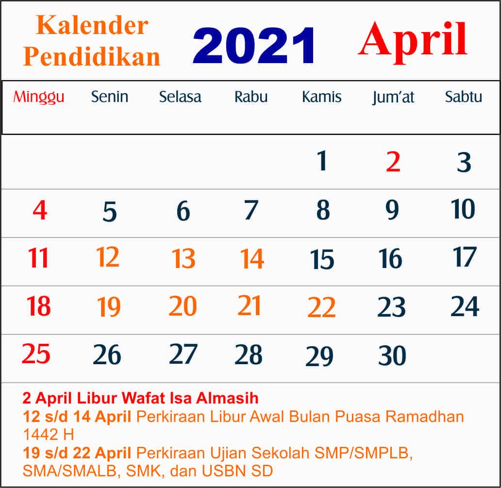 kalender pendidikan april 2021 dki jakarta