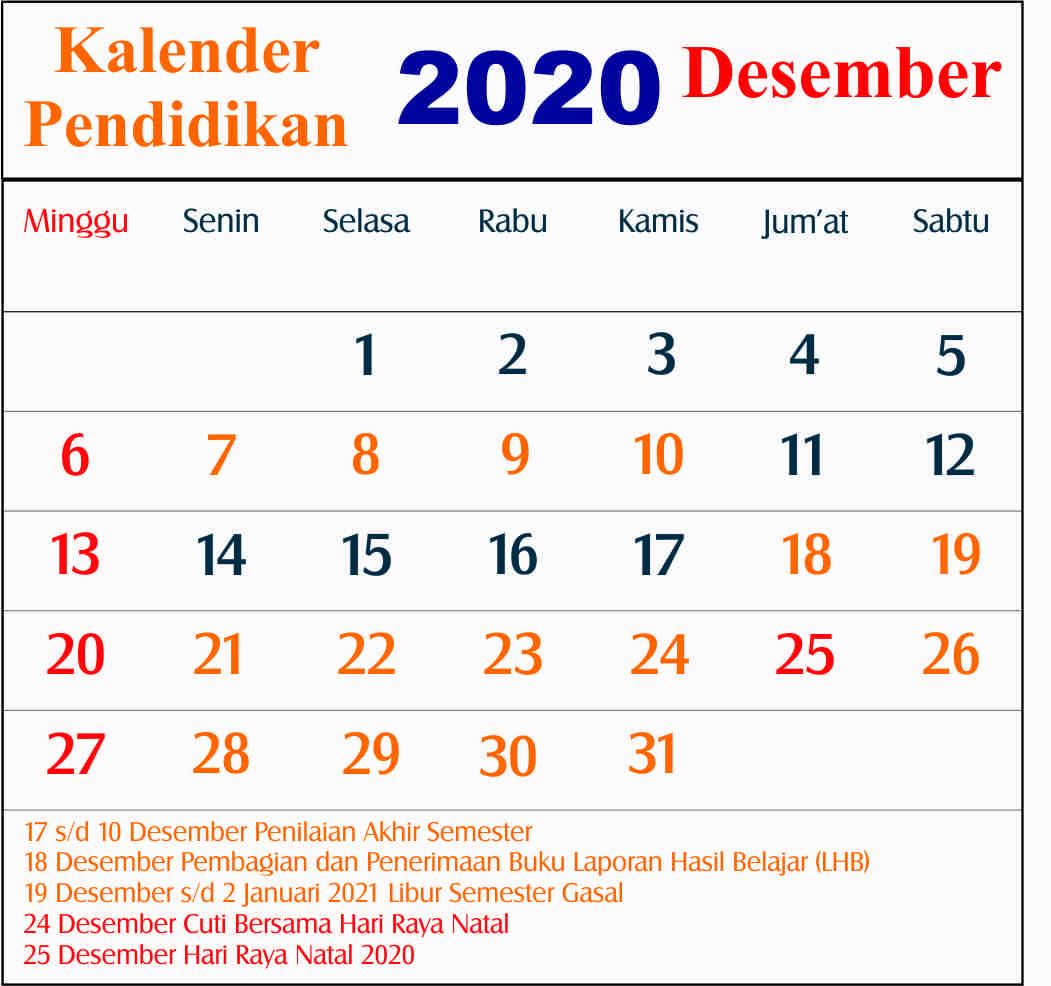 kalender pendidikan desember 2020 dki jakarta