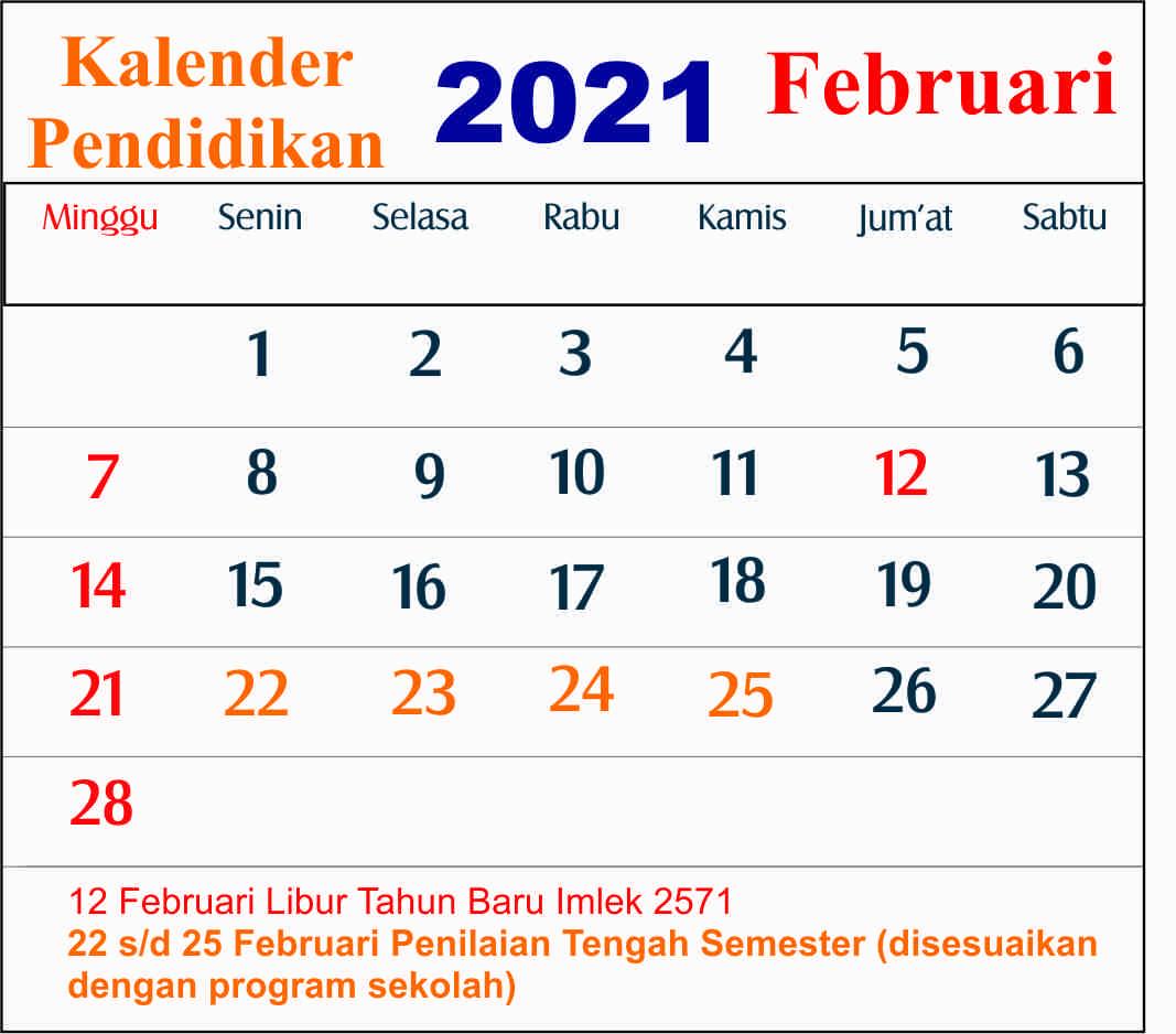 kalender pendidikan februari 2021 dki jakarta