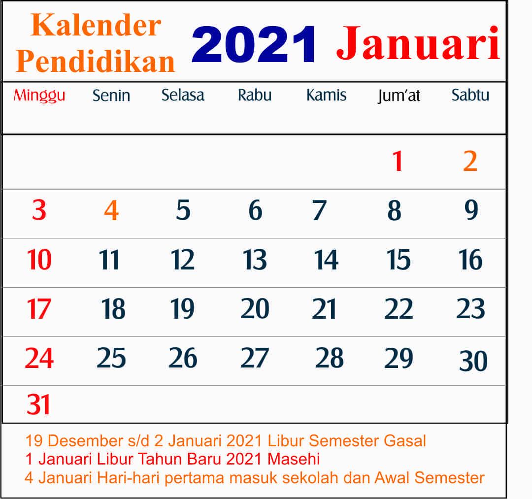 kalender pendidikan januari 2021 dki jakarta