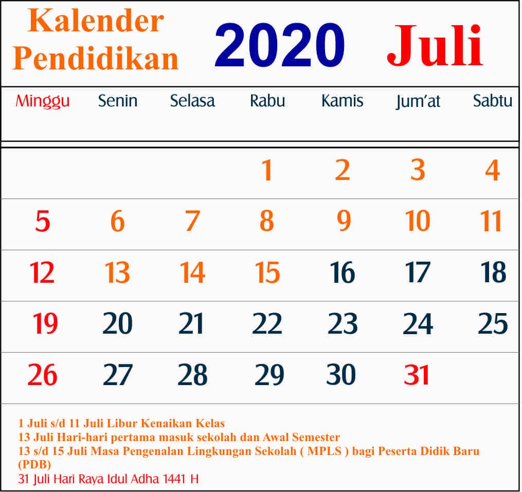 kalender pendidikan juli 2020 dki jakarta