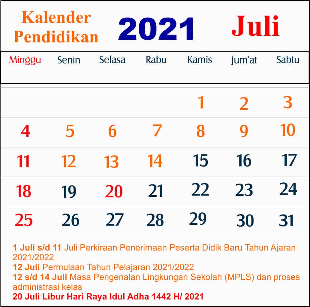 kalender pendidikan juli 2021 dki jakarta
