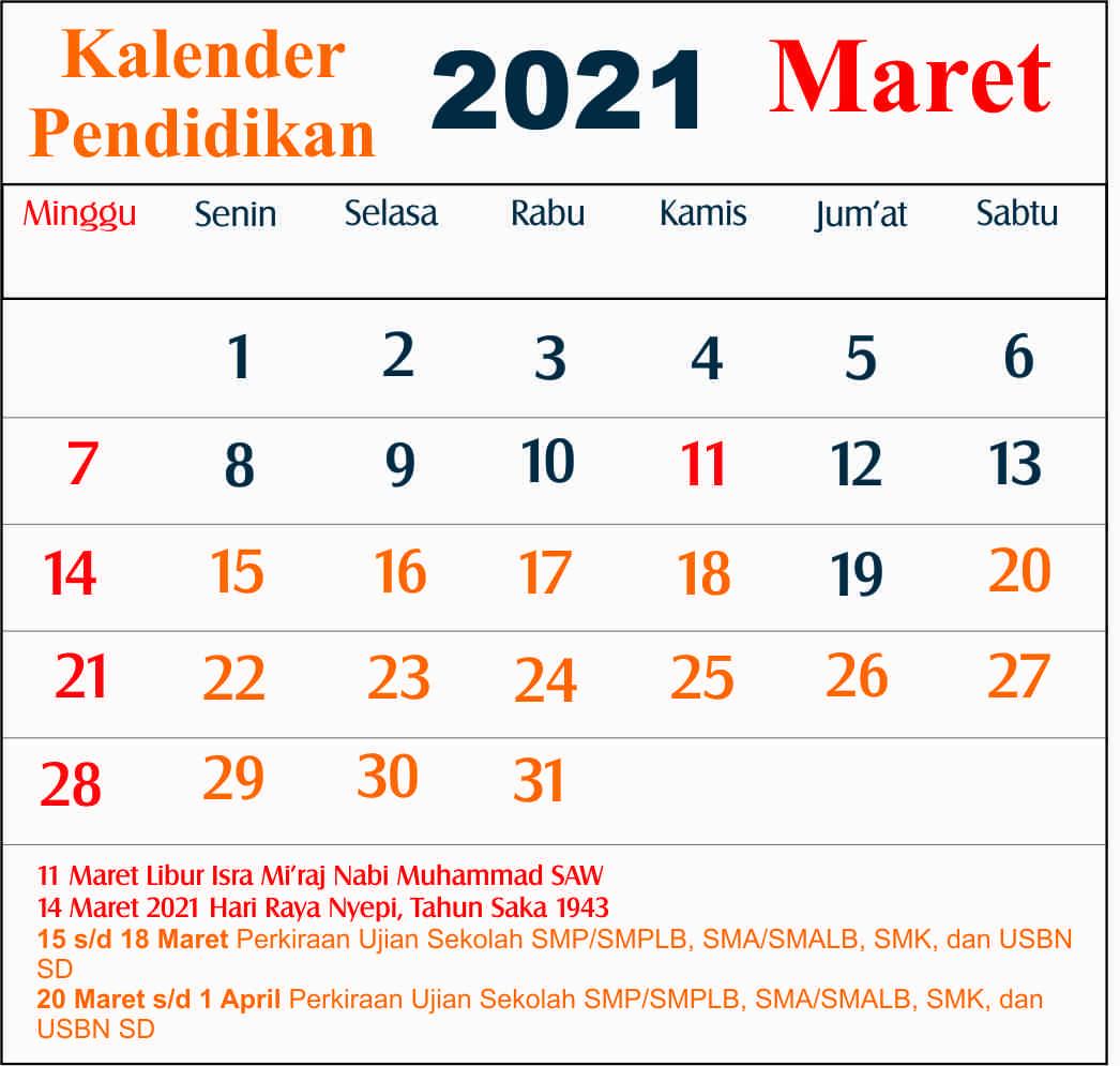 kalender pendidikan maret 2021 dki jakarta