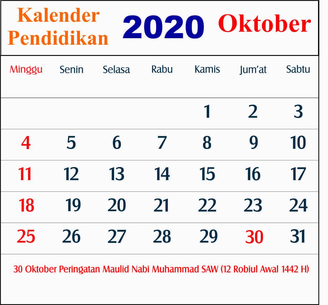 kalender pendidikan oktober 2020 dki jakarta