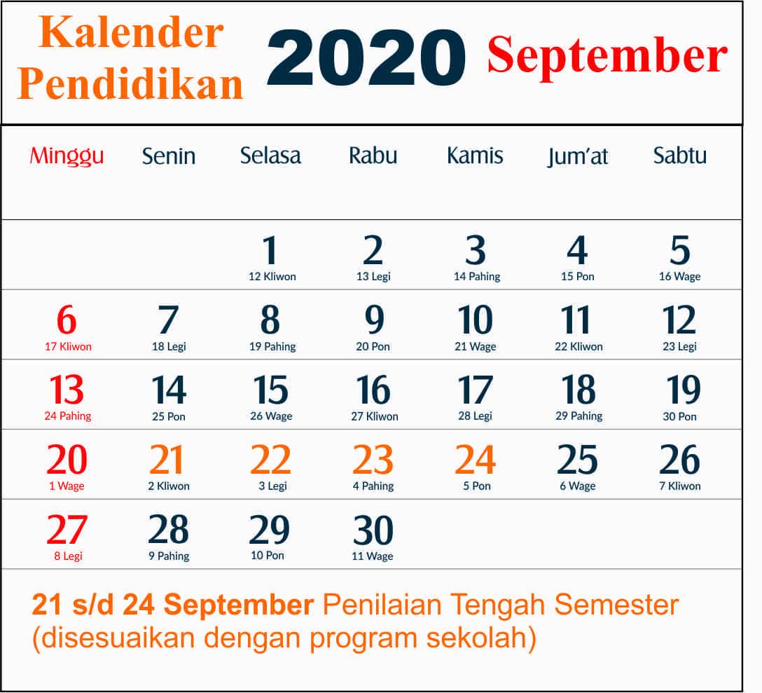 kalender pendidikan september 2020 dki jakarta