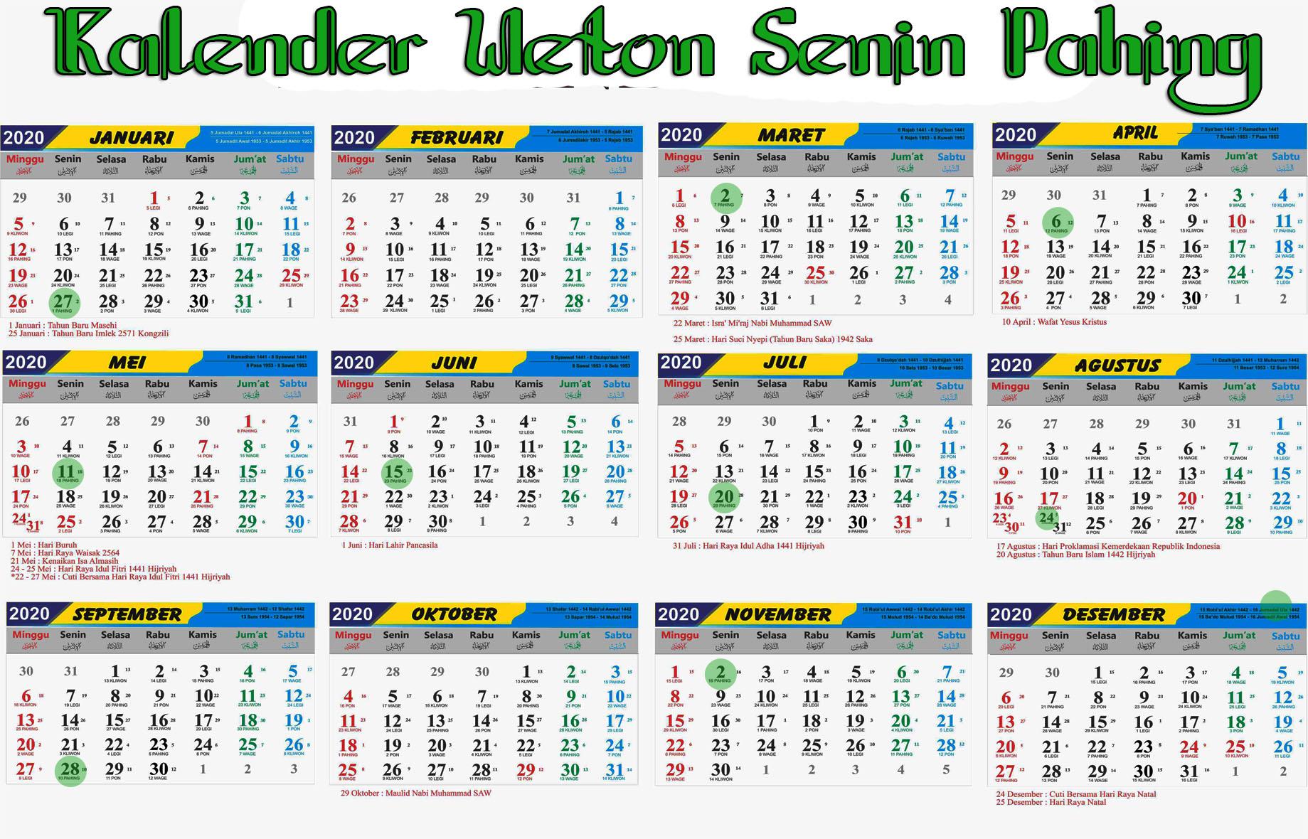 kalender weton senin pahing