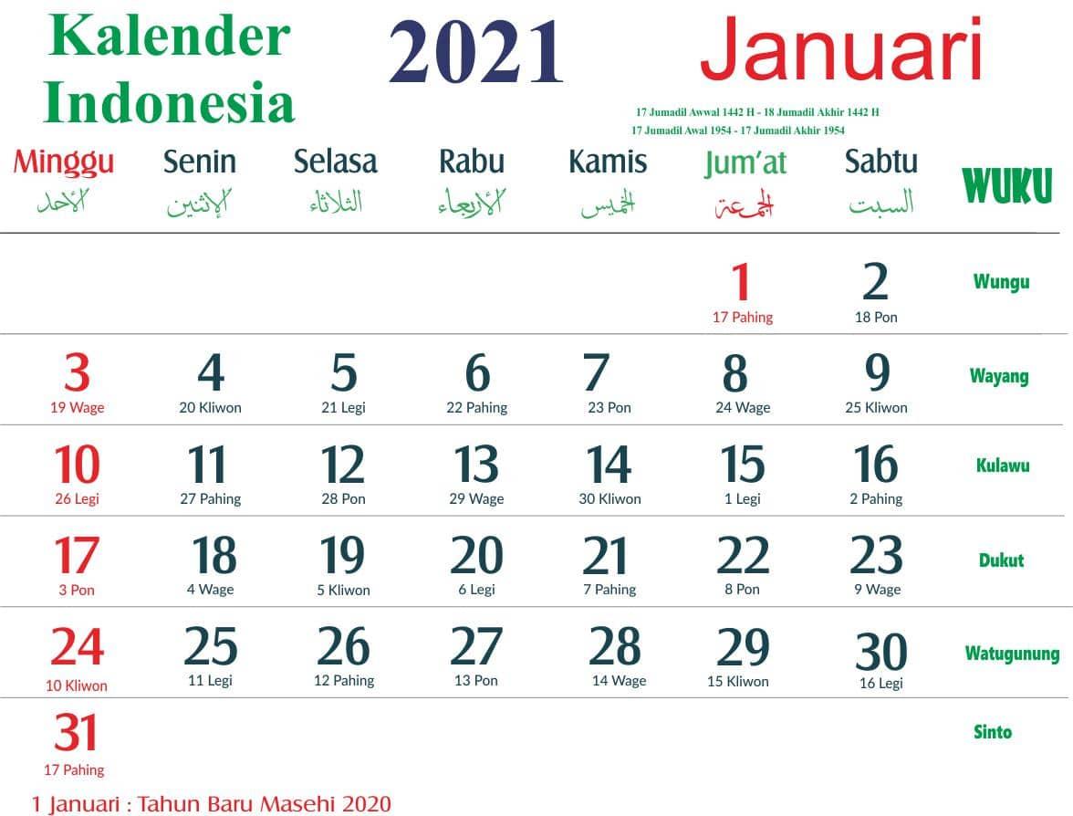 kalender bulan januari tahun 2021