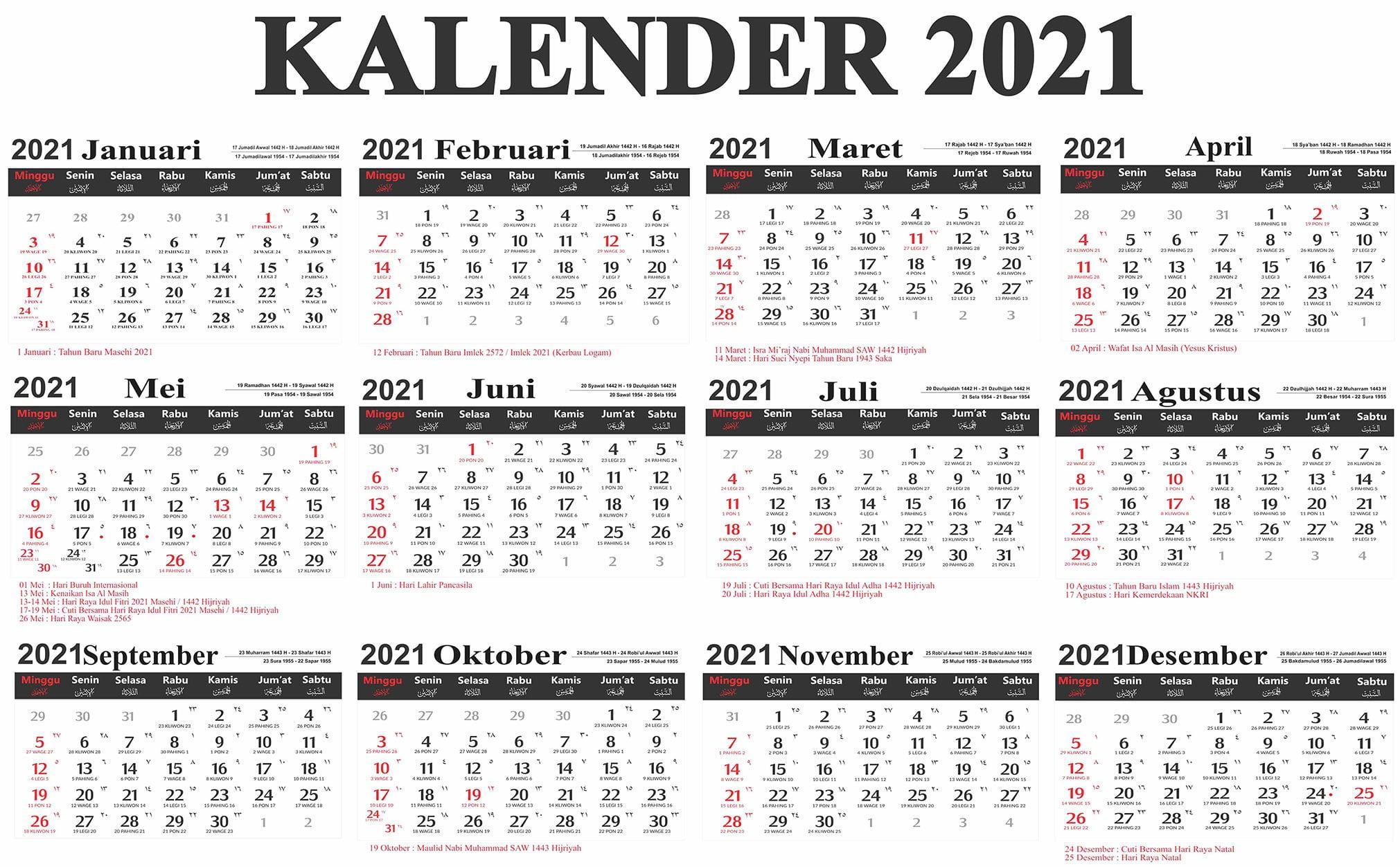 Kalender Tahun 2021 Indonesia Lengkap Dengan Hari Libur Nasional