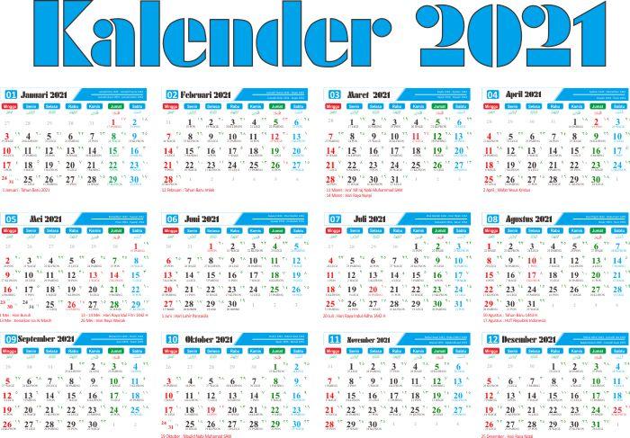 Kalender Tahun 2021 Pdf Cdr Jpg Png Lengkap Tanggalan Jawa Dan Hijriyah