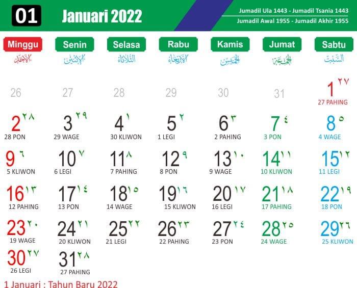kalender jawa januari 2022