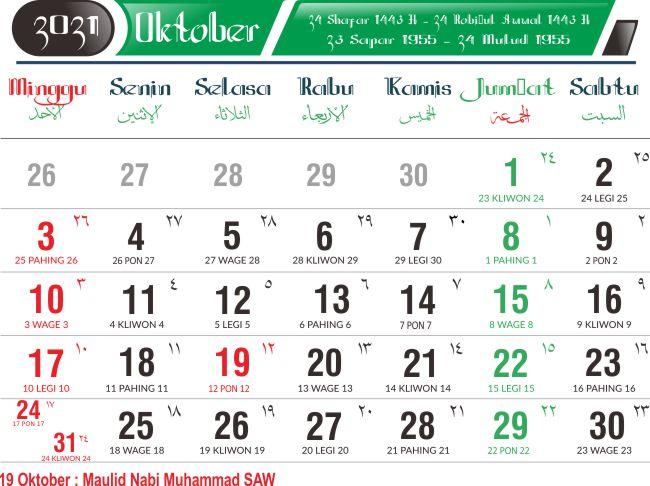 kalender jawa oktober 2021
